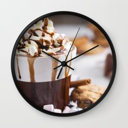 Messy hot chocolate, cream and marshmallows and a choc-chip cookie Wall Clock