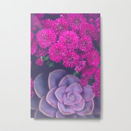 Flowers and Echeveria Metal Print