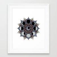 moon phase Framed Art Prints featuring Moon Phase Mandala by Paula Savage