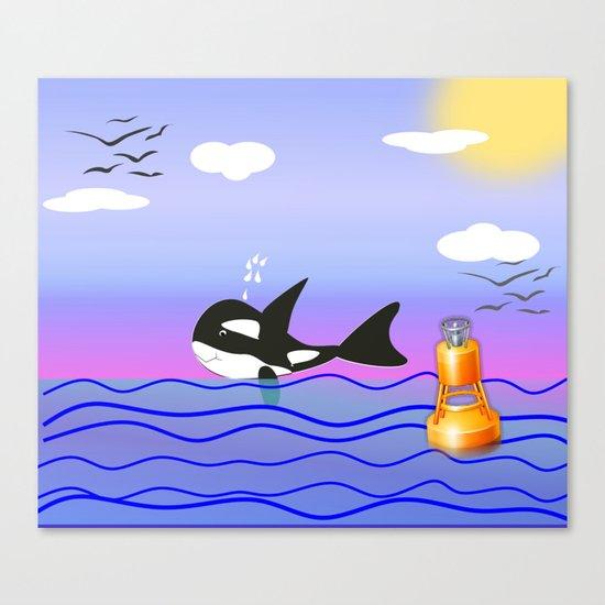 Happy Orca in the Ocean Canvas Print