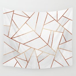 White Stone & Copper Lines Wall Tapestry