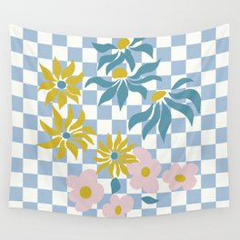 Flower Power Chess in Blue Wall Tapestry