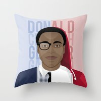 childish gambino Throw Pillows featuring Donald Glover x Childish Gambino by Mathieu Duparcq