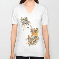 japanese V-neck T-shirts featuring fox in foliage by Teagan White
