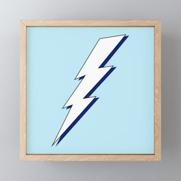 Just Me and My Shadow Lightning Bolt - Light-Blue White Blue Framed Mini Art Print