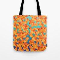 escher Tote Bags featuring Escher cube by Tony Vazquez