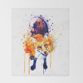 Cute Happy Fox Throw Blanket