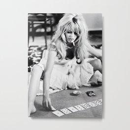 Brigitte Bardot Playing Cards, Black and White Photograph Metal Print