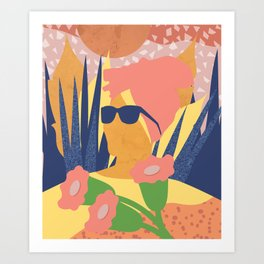 Summer with flower of a turban girl Art Print