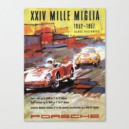 Mille Miglia, Race Poster, Vintage Poster, car poster Canvas Print