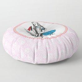 Alice in Wonderland | Drink Me Bottle | Pink Damask Pattern | Floor Pillow
