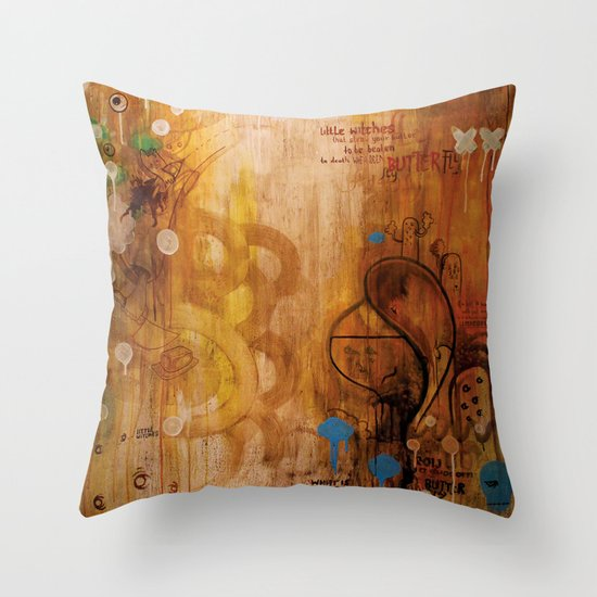 handicapped bull Throw Pillow