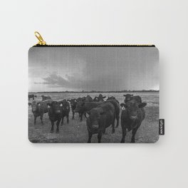 Hanging Out - Black and White Photo of Cows in Kansas Carry-All Pouch