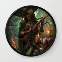 hunter Wall Clocks featuring Hunter by Mitul Mistry