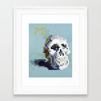8bit Framed Art Prints featuring 8Bit Skull by Delton Demarest