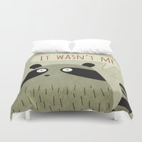 raccoon Duvet Covers featuring Raccoon by Fuzzorama