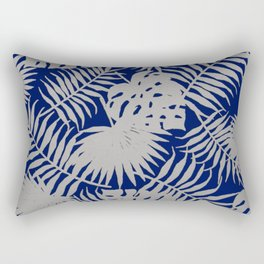 Silver Tropical Leaves over Navy Blue Rectangular Pillow