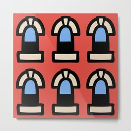New York Windows Pattern 262 Red and Blue Metal Print
