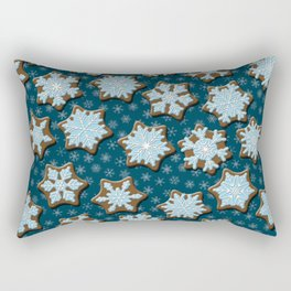 Frosted Gingerbread on Winter Night Sky Rectangular Pillow