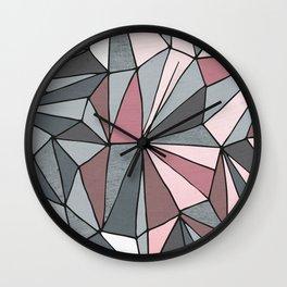 Urban Geometric Pattern on Concrete - Dark grey and pink Wall Clock