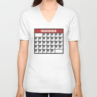calendar V-neck T-shirts featuring The Laughing Calendar by Josh LaFayette