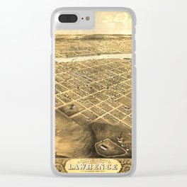 Bird's Eye View of Lawrence, Kansas (1869) Clear iPhone Case
