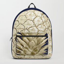 Pineapple Pineapple Gold on Navy Blue Backpack