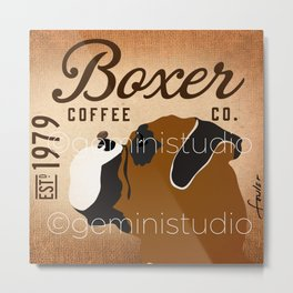 Boxer coffee company dog artwork by Stephen Fowler Metal Print