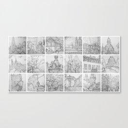 Prague sketches by David A Sutton. 18 piece horizontal. sketchbookexplorer.com Canvas Print