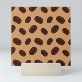Cool Brown Coffee beans pattern Mini Art Print