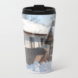 Sunny day at a beautiful heritage Romanian house covered in heavy snow Travel Mug
