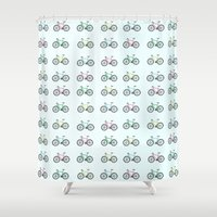 bicycles Shower Curtains featuring Bicycles by amyhartdesign