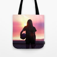 volleyball Tote Bags featuring Volleyball Player by americansummers