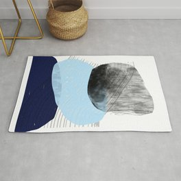 Blue and Black Mid-Century Modern Abstract Rug