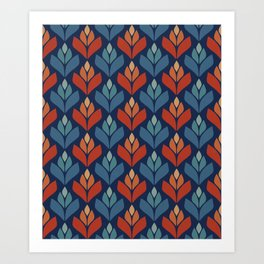 Blue & Red Retro Trefoil Pattern Art Print