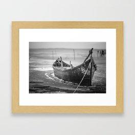 frozen boat Framed Art Print