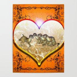 Funny meerkat in a heart Poster