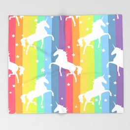 Rainbow Unicorns Throw Blanket