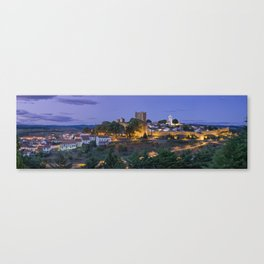 Braganca castle and town at dusk, Portugal Canvas Print