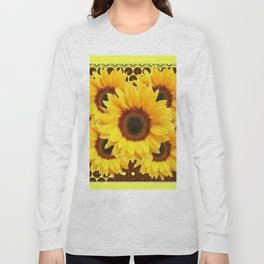 DECORATIVE DECO BROWN & YELLOW SUNFLOWERS DESIGN Long Sleeve T-shirt