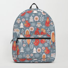 Fairy forest, deer, owls, foxes. Decorative pattern in Scandinavian style. Folk art. Backpack