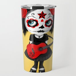 Red and Yellow Big Eyes Sugar Skull Girl Playing the Guitar Travel Mug