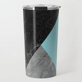 Black and White Marbles and Pantone Island Paradise Color Travel Mug