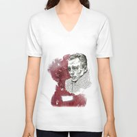 camus V-neck T-shirts featuring Camus - The Stranger by Nina Palumbo Illustration