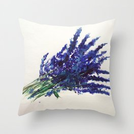 Fresh Cut Lavender Watercolors On Paper Throw Pillow