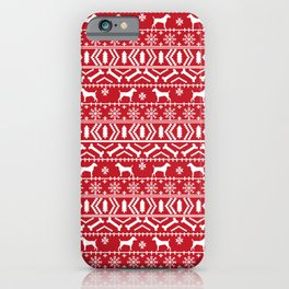 Jack Russell Terrier fair isle christmas sweater dog breed pattern holidays red and white iPhone Case