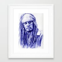 jack sparrow Framed Art Prints featuring Jack Sparrow by Luna Perri