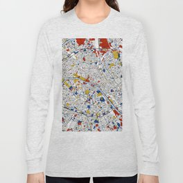 Paris Mondrian Map Art Long Sleeve T-shirt