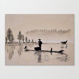 Sunrise Bird Fishing Canvas Print