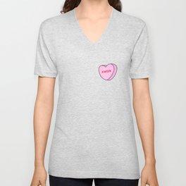 Feminist Valentine Candy Hearts in Green, Kween Unisex V-Neck